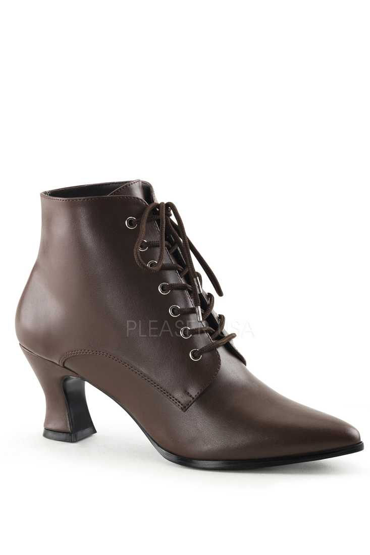 Brown Lace Up Victorian Ankle Booties Faux Leather