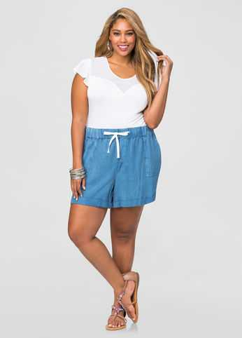 Denim Wash Rayon Short