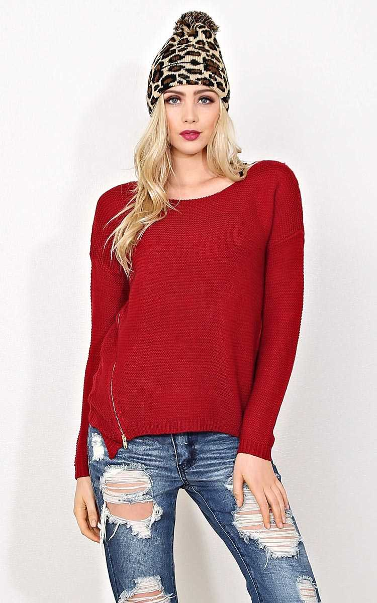 Tabitha Zipper Accent Knit Sweater - LGE - Burgundy in Size Large by Styles For Less