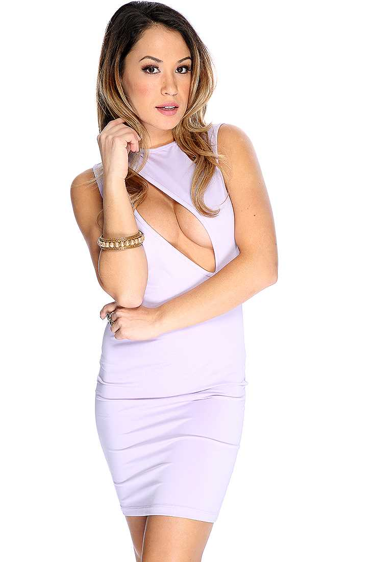 Lavender Slash Front Sleeveless Sultry Bodycon Dress