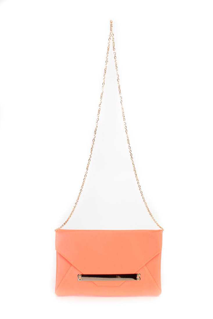 Neon Orange Faux Leather Envelope Handbag