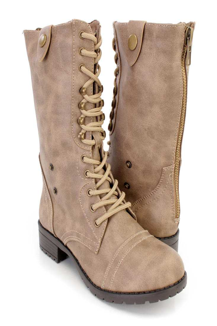 Taupe Lace Up Combat Boots Faux Leather
