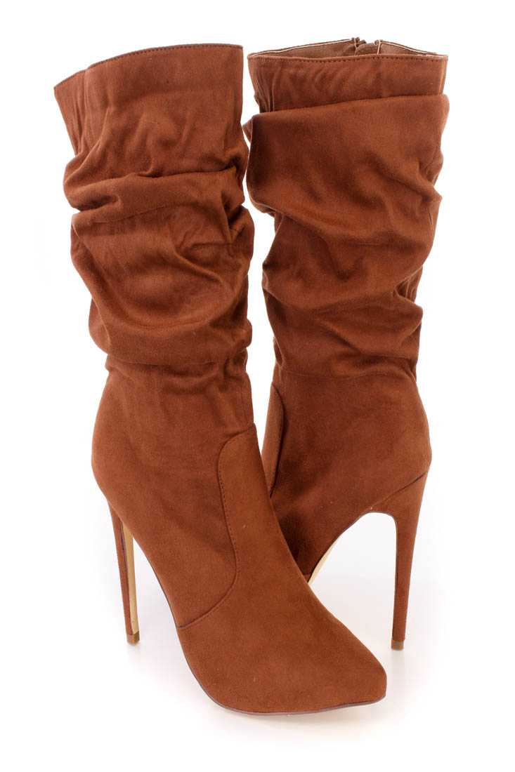 Tan Scrunchy Stiletto High Heel Boots Faux Suede