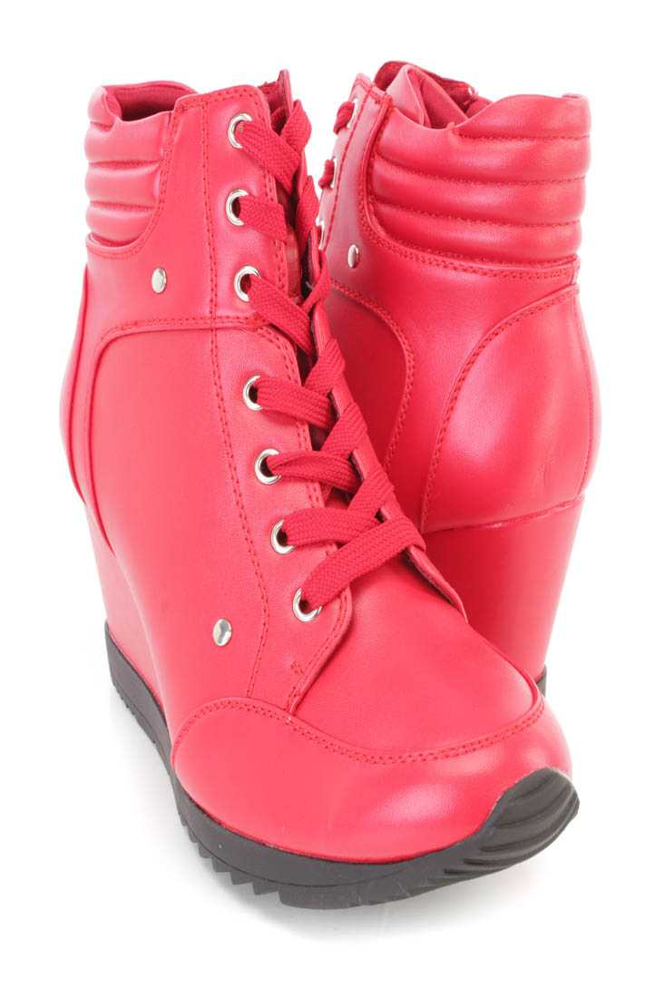 Red Lace Up Sneaker Wedges Faux Leather