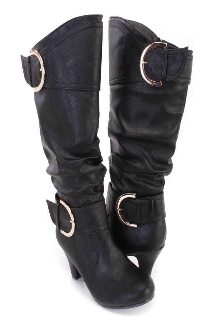 Black Slouchy Strappy Heel Boots Faux Leather