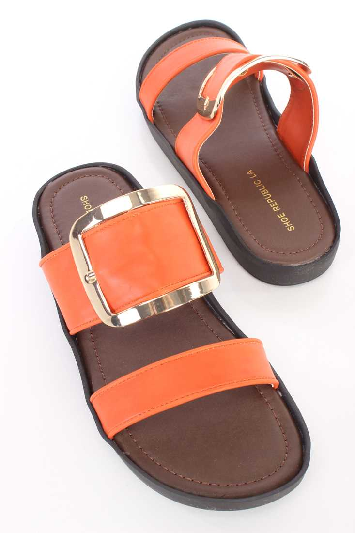 Orange High Polish Buckle Strappy Sandals Faux Leather