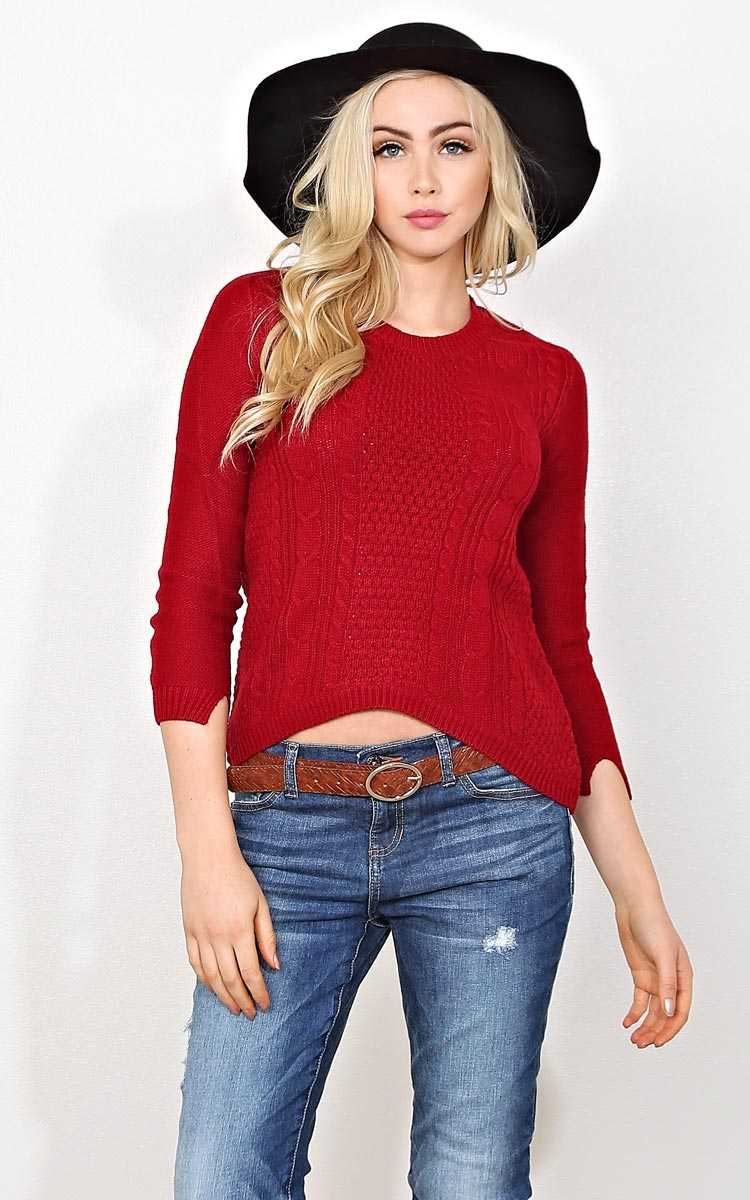 Sweet Addiction Cable Knit Sweater - - Red in Size by Styles For Less