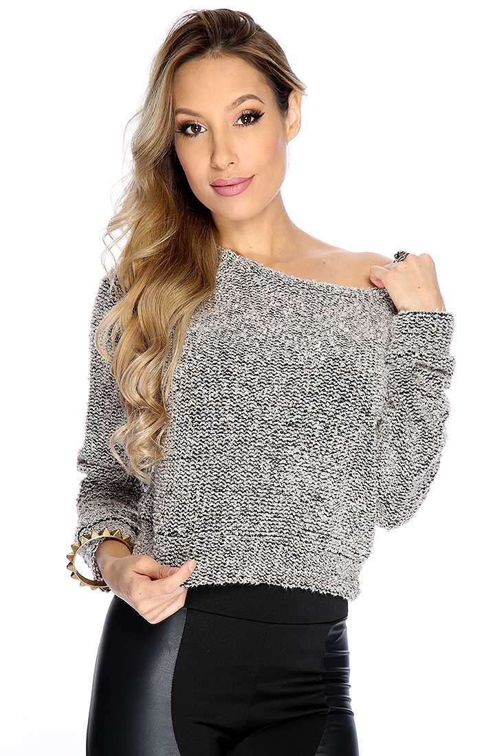 Cute Taupe Long Sleeve Textured Knit Causal Fall Sweater