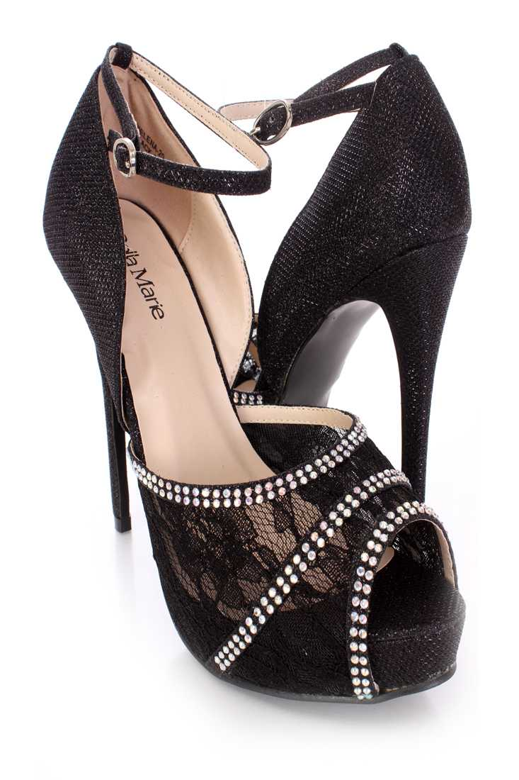 Black Rhinestone Lace Peep Toe High Heels Shimmer Fabric