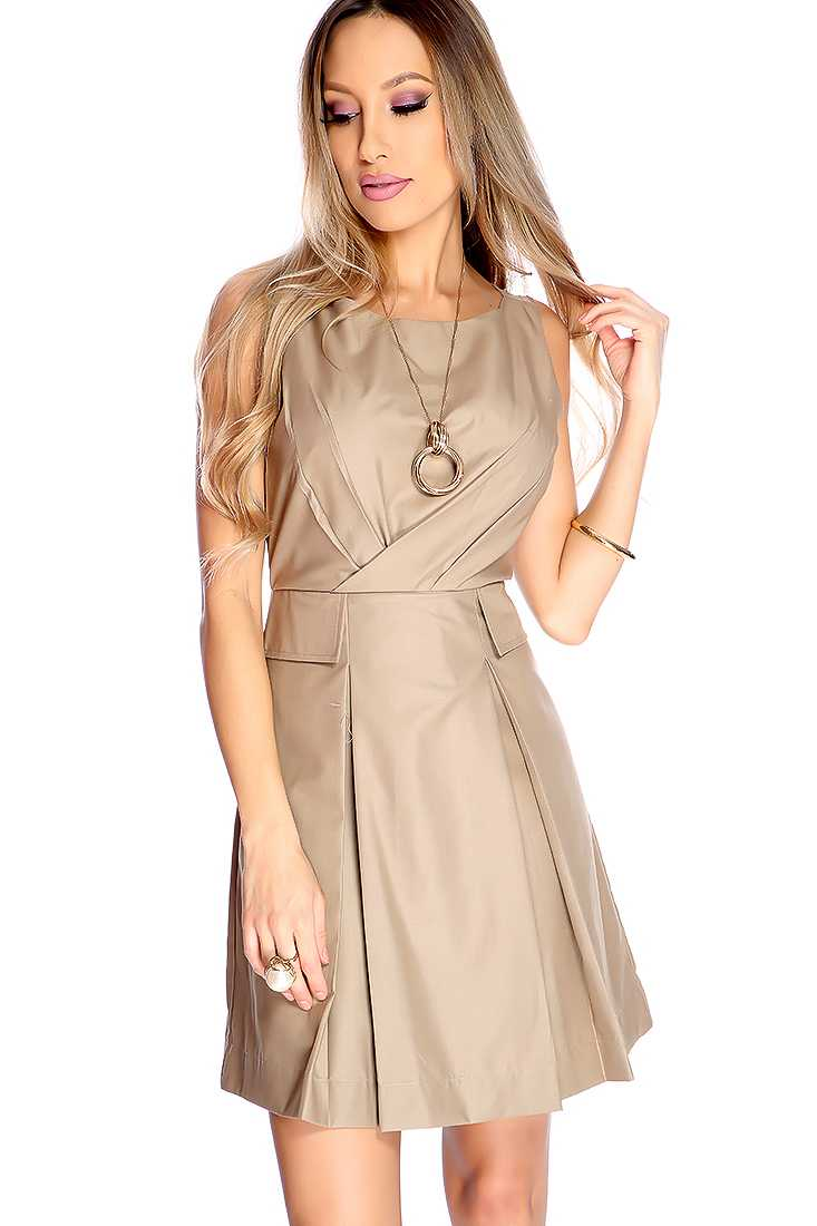 Sexy Taupe Pleated Sleeveless Party Dress