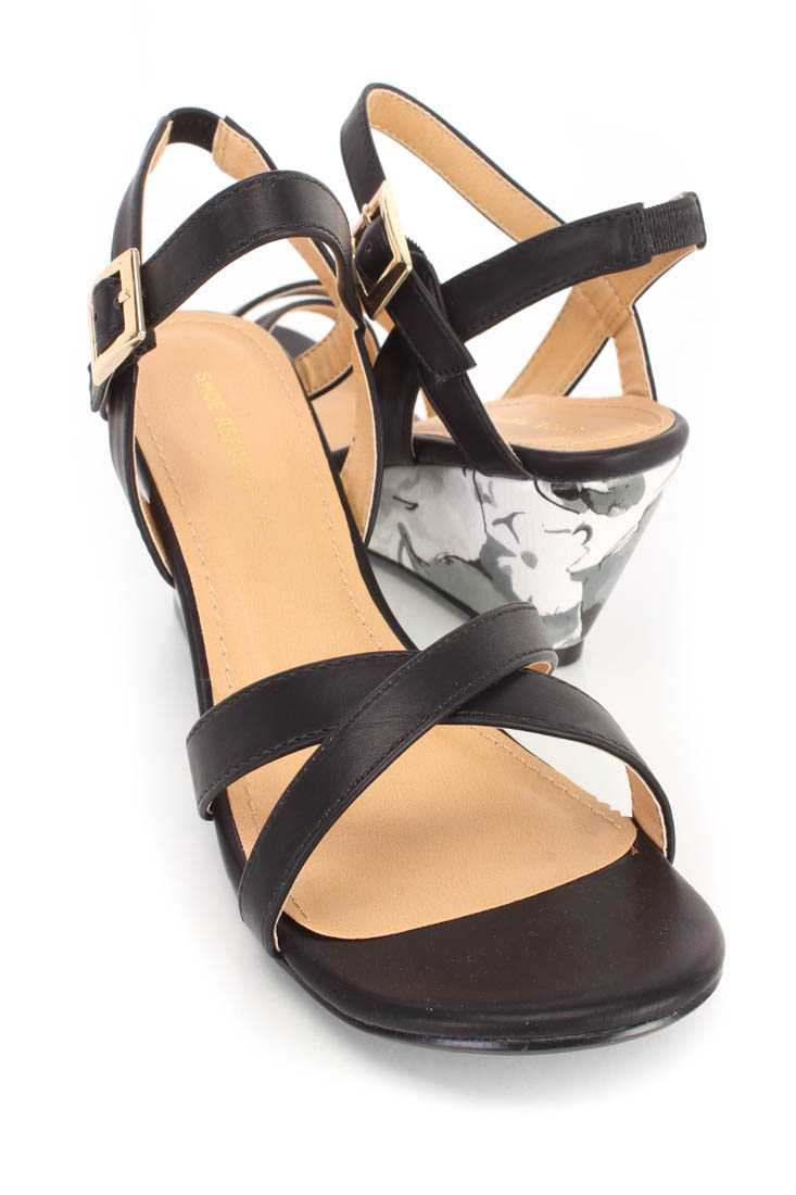 Black Open Toe Floral Wedges Faux Leather