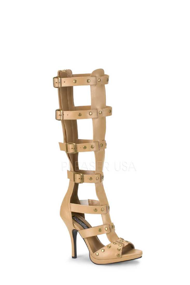 Tan Strappy Gladiator High Heels Faux Leather