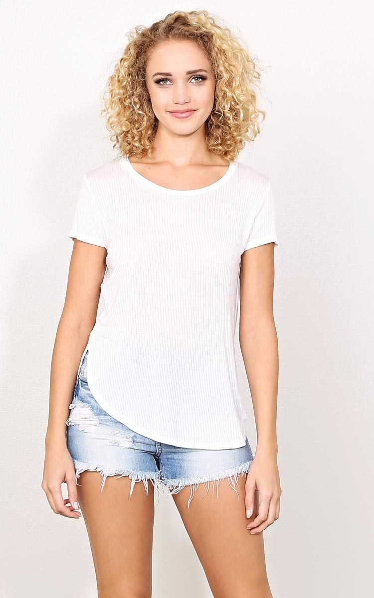 White Scooped Rib Knit Top - - White in Size by Styles For Less