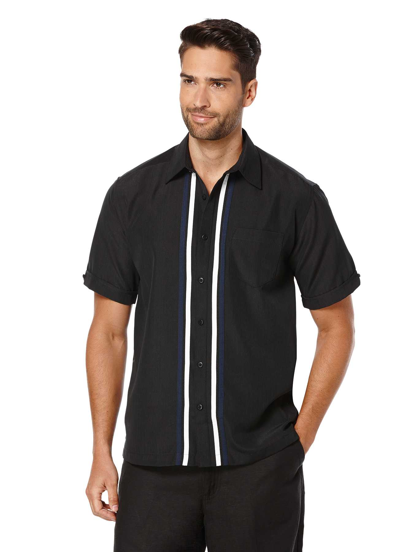 Cubavera Short Sleeve Texture Tri-Color Panel