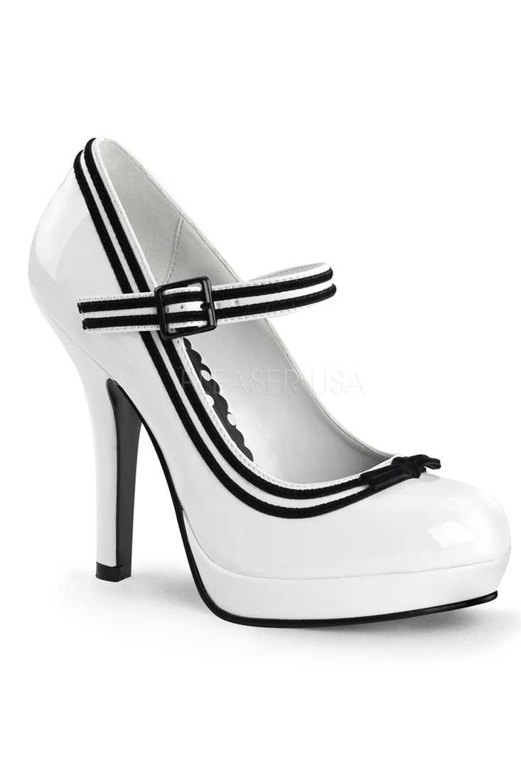White Mary Jane Pump Platform High Heels Patent