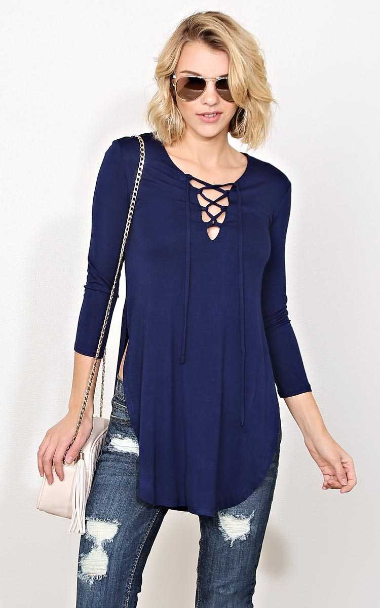 Night Quest Lace Up Knit Top - - Navy in Size by Styles For Less