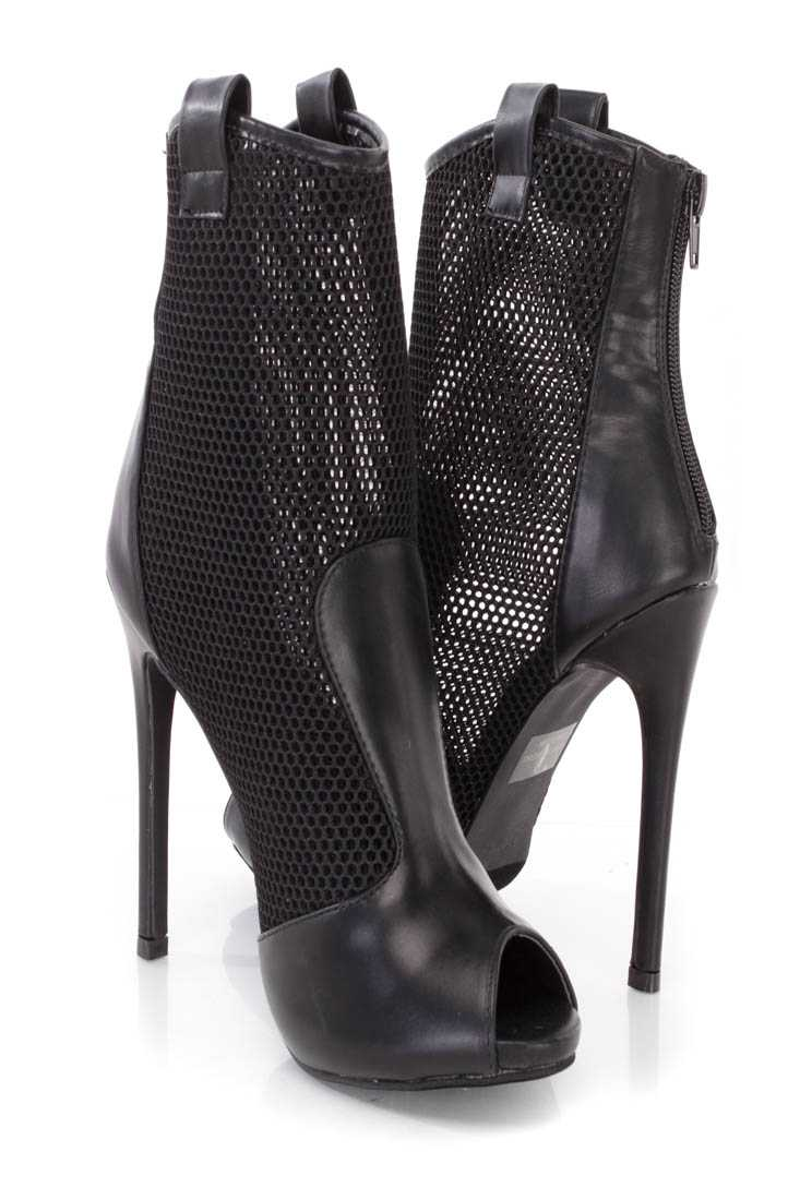 Black Netted Peep Toe Stiletto Booties Faux Leather