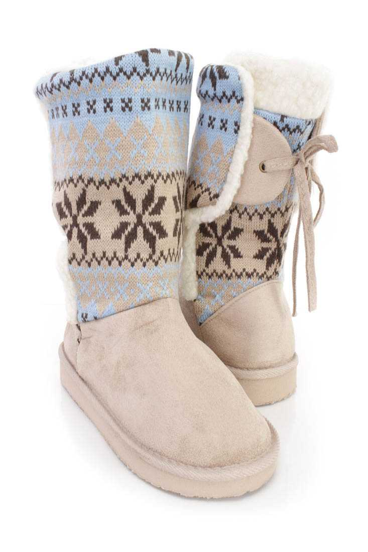 Taupe Fair Isle Knitted Casual Boots Faux Suede