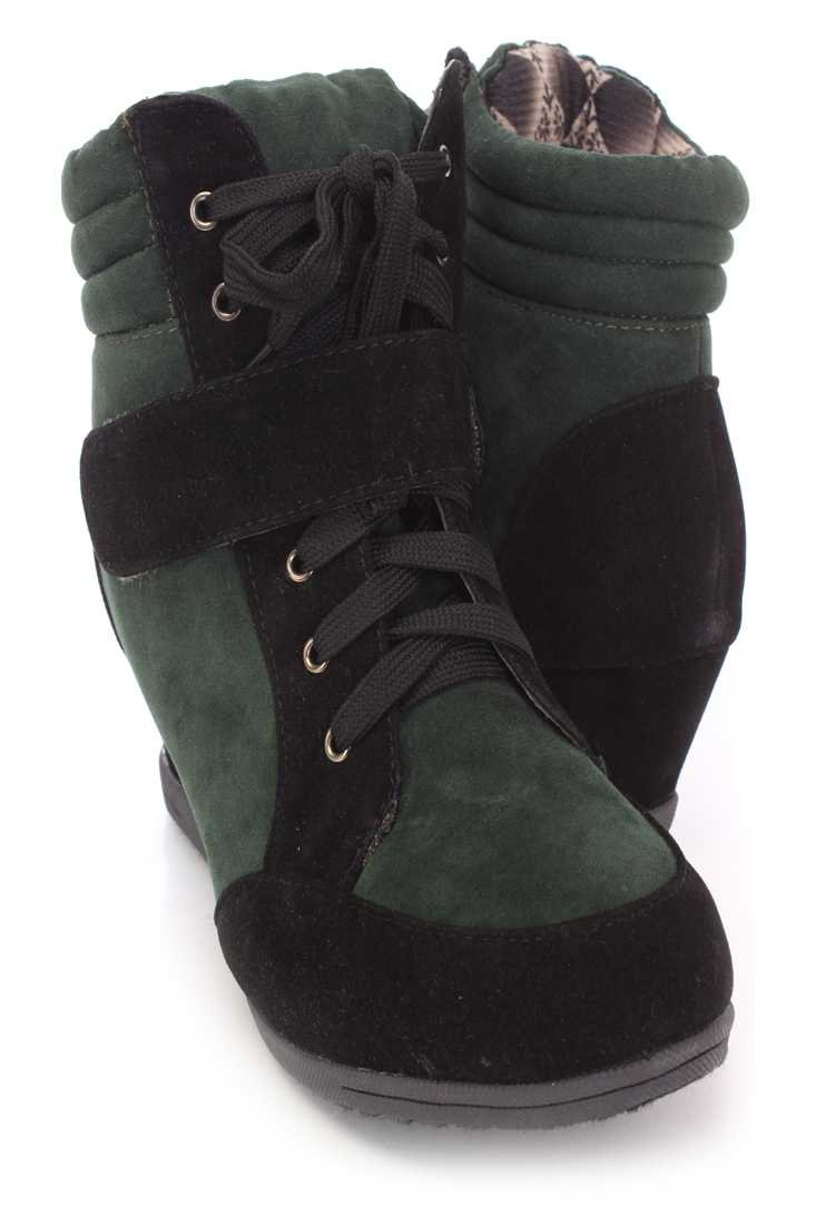 Black Green Two Tone Sneaker Wedges Faux Suede