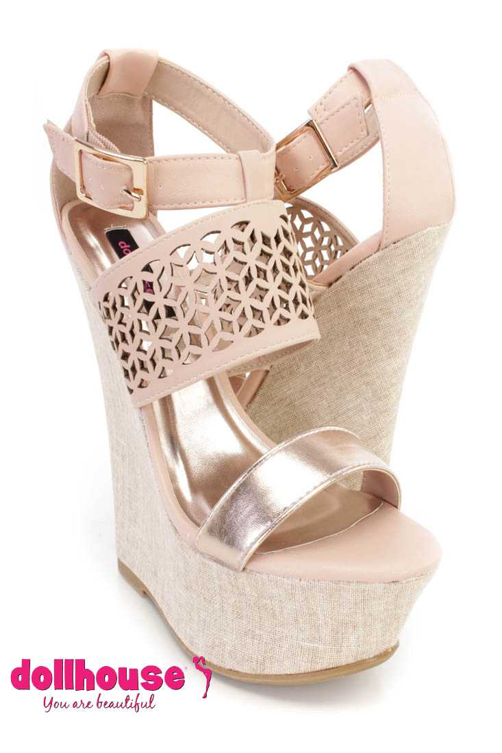 Rose Perforated Strappy Platform Wedges Faux Leather