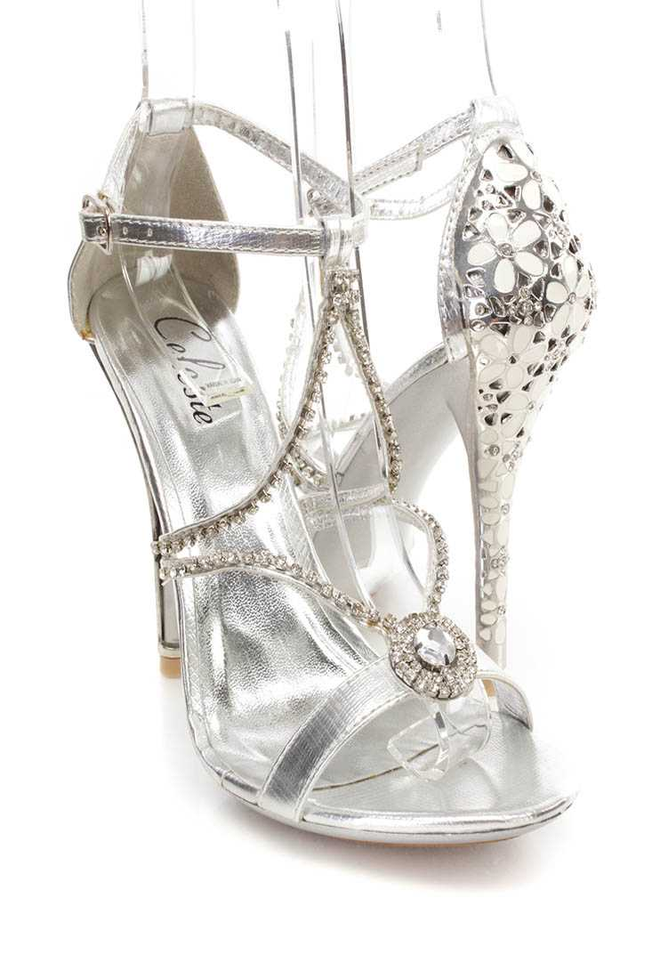 Silver Rhinestone Strappy Single Sole Heels Faux Leather