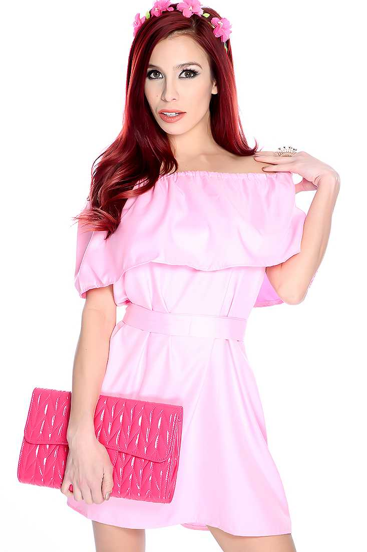 Sexy Pink Off the Shoulder Casual Dress
