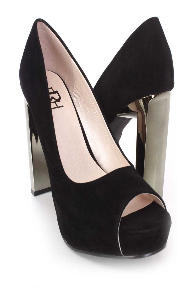 Black Peep Toe Mirrored Heels Faux Suede