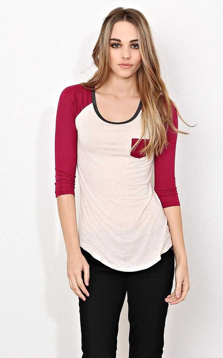 Oatmeal Scooped Knit Raglan Top - - Oatmeal Combo in Size by Styles For Less