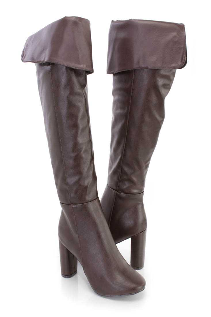 Brown Cuffed Chunky High Heel Boots Faux Leather