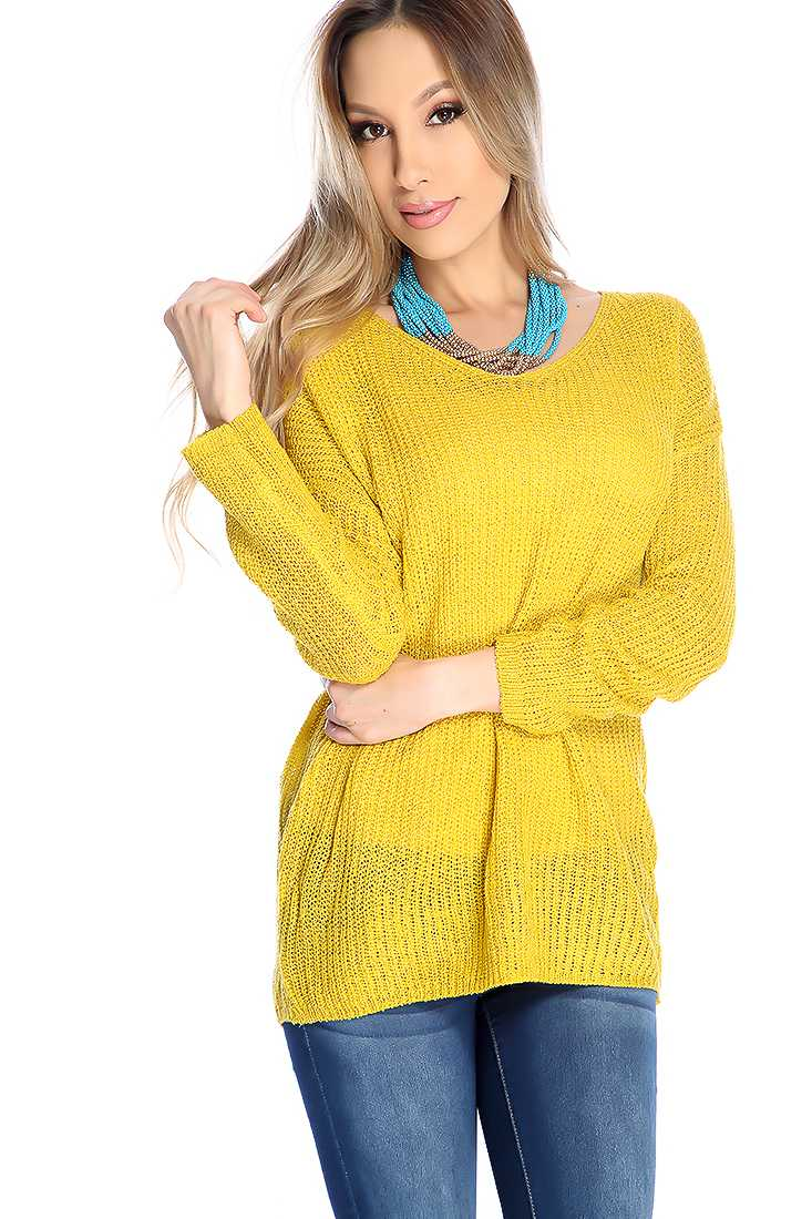 Mustard V-neck Open Knitted Long Sleeve Sweater