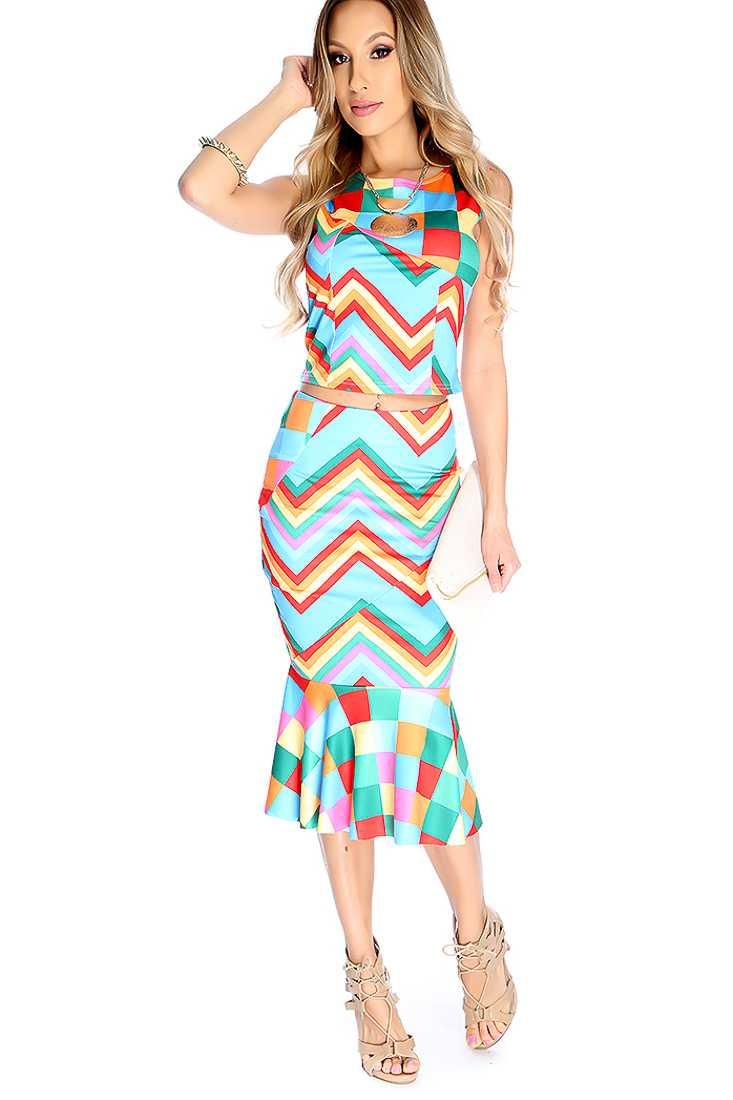 Sexy Rainbow Chevron Print Sleeveless High Waist 2 Piece Party Dress