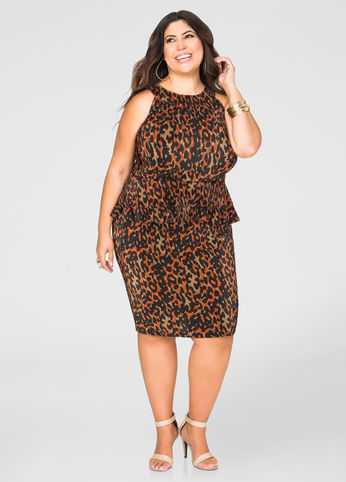 Pleated Leopard Pencil Skirt