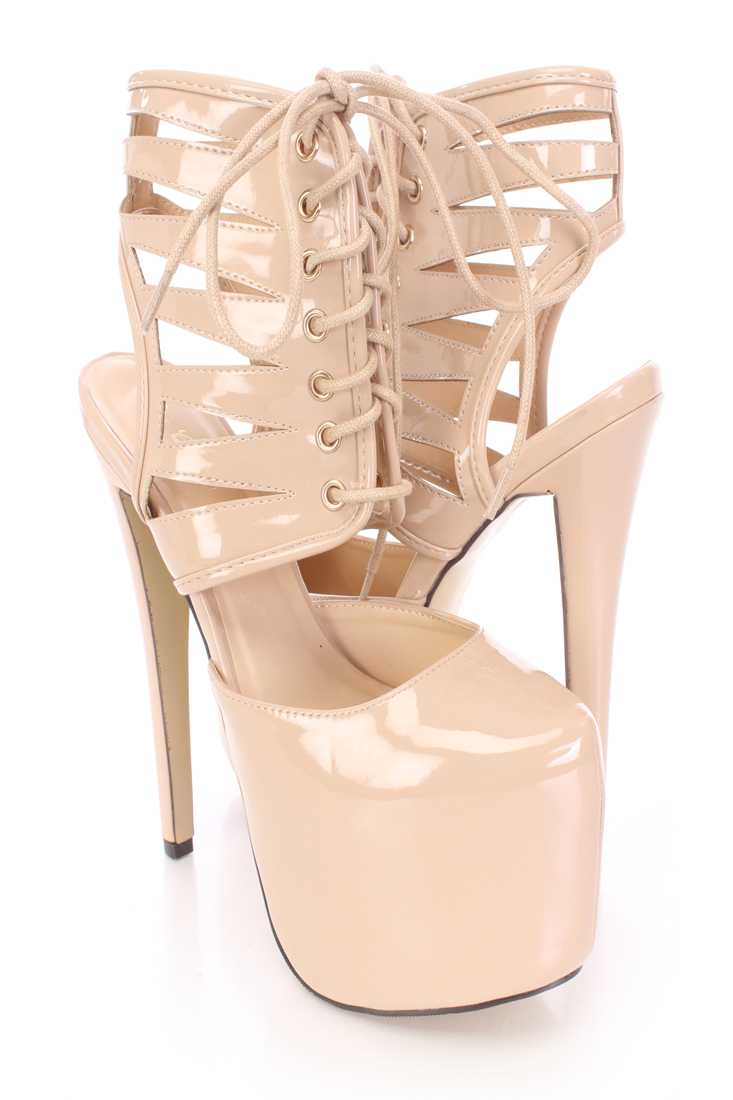 Nude Lace Up Platform Booties Patent