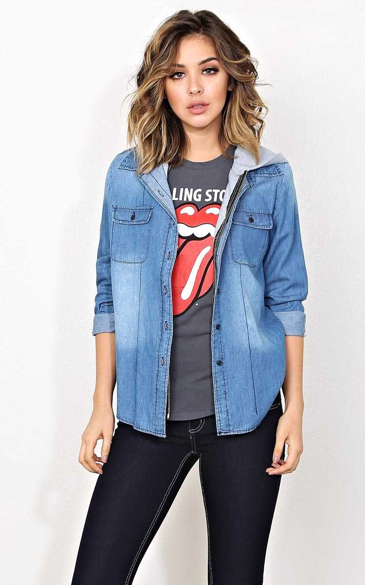Kickin' It Chambray Top - SML - Med Wash in Size Small by Styles For Less