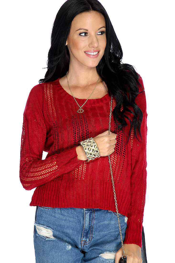 Wine Cable Open Knitted Long Sleeve Sweater Top