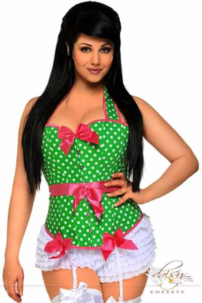 Green Rockabilly Belted Halter Plus Size Corset
