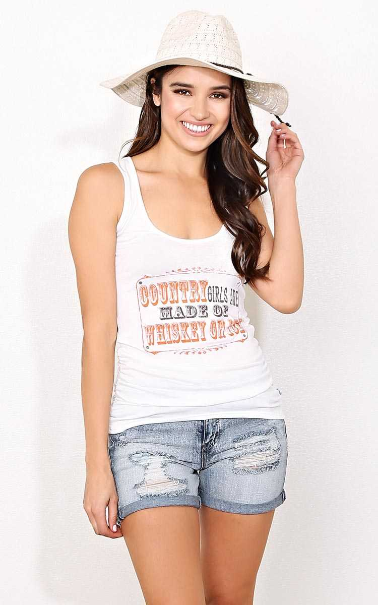 WHISKEY ON ICE Knit Graphic Tee - - Ivry/Natrl in Size by Styles For Less