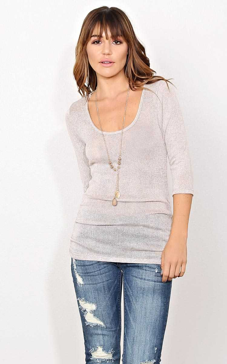 Mocha New Leaf Necklace Top - LGE - Mocha in Size Large by Styles For Less