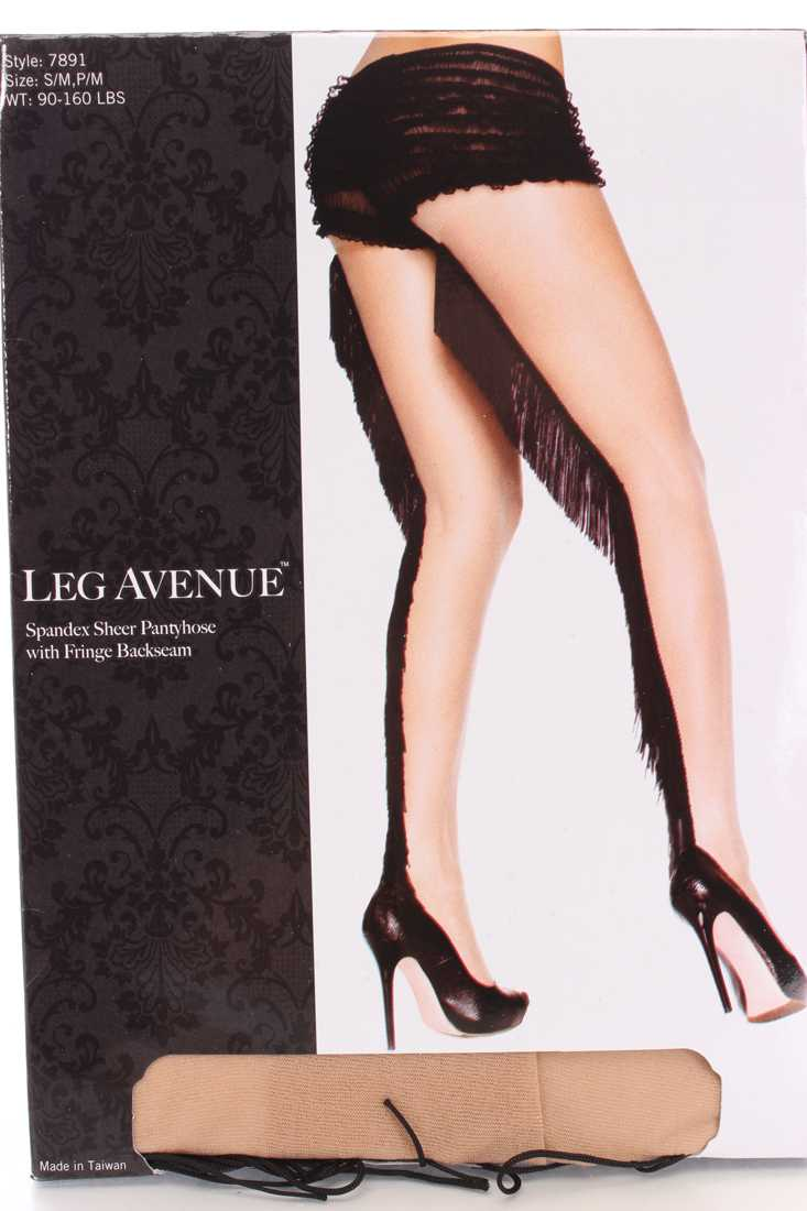 Nude Black Fringe Backseam Hosiery