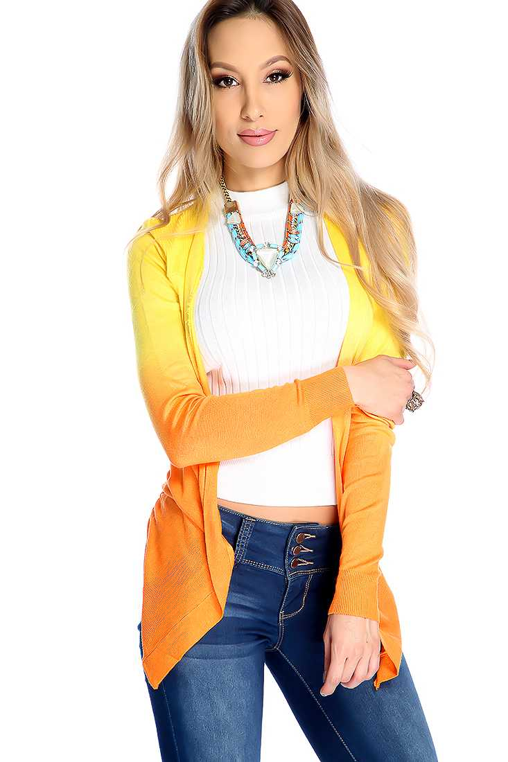 Stylish Orange Gradient Long Sleeve Cardigan