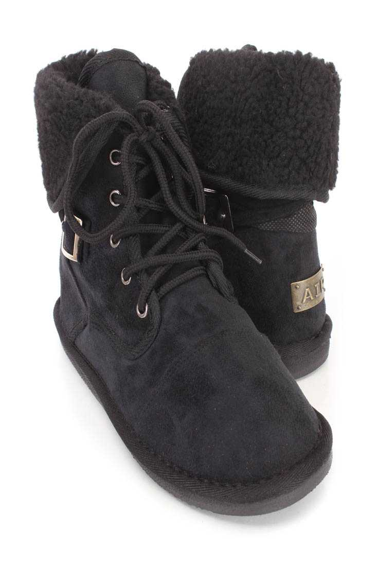Black Lace Up Shearing Cuffed Ankle Booties Faux Suede