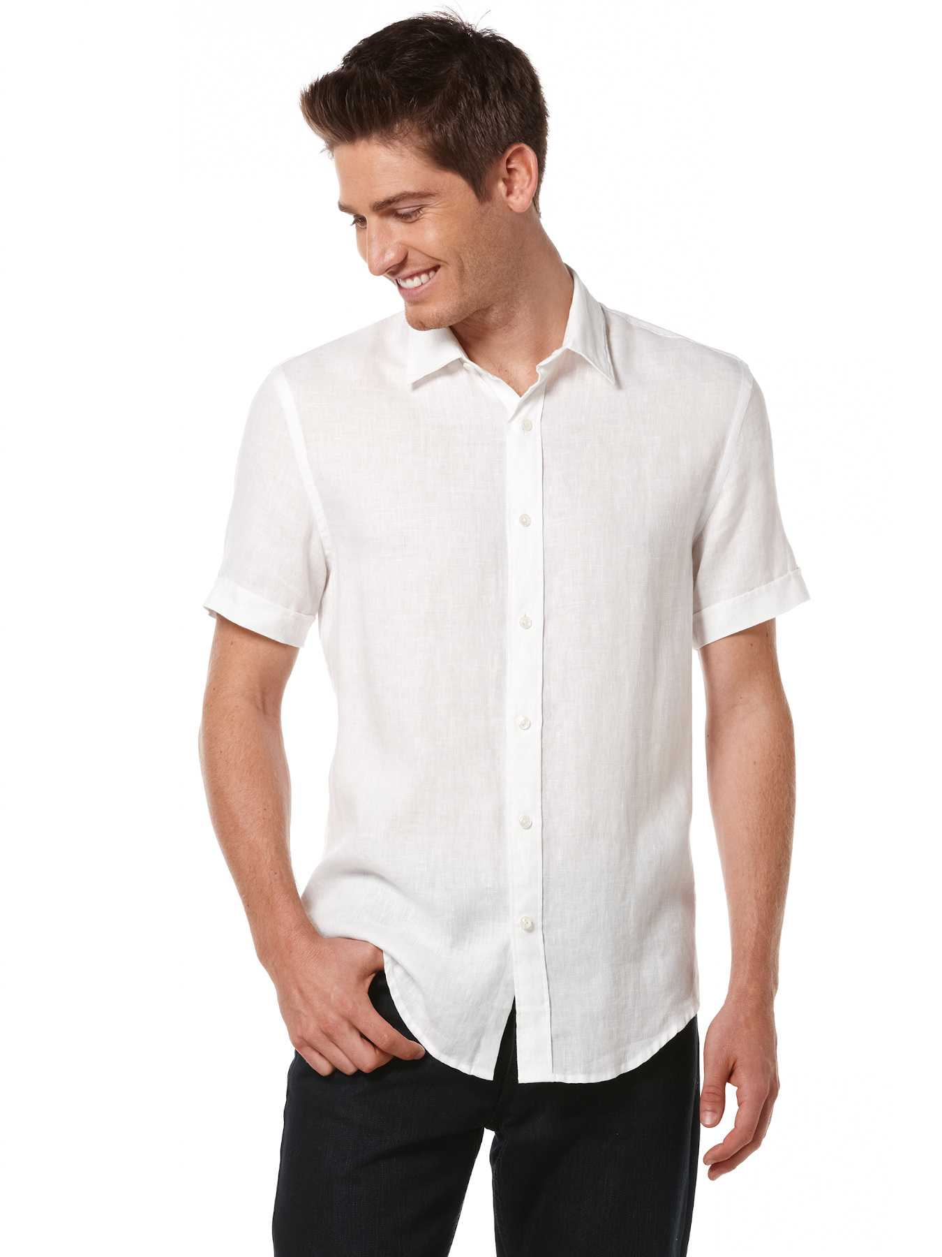 Perry Ellis Big and Tall Linen Washed Short Sleeve Shirt