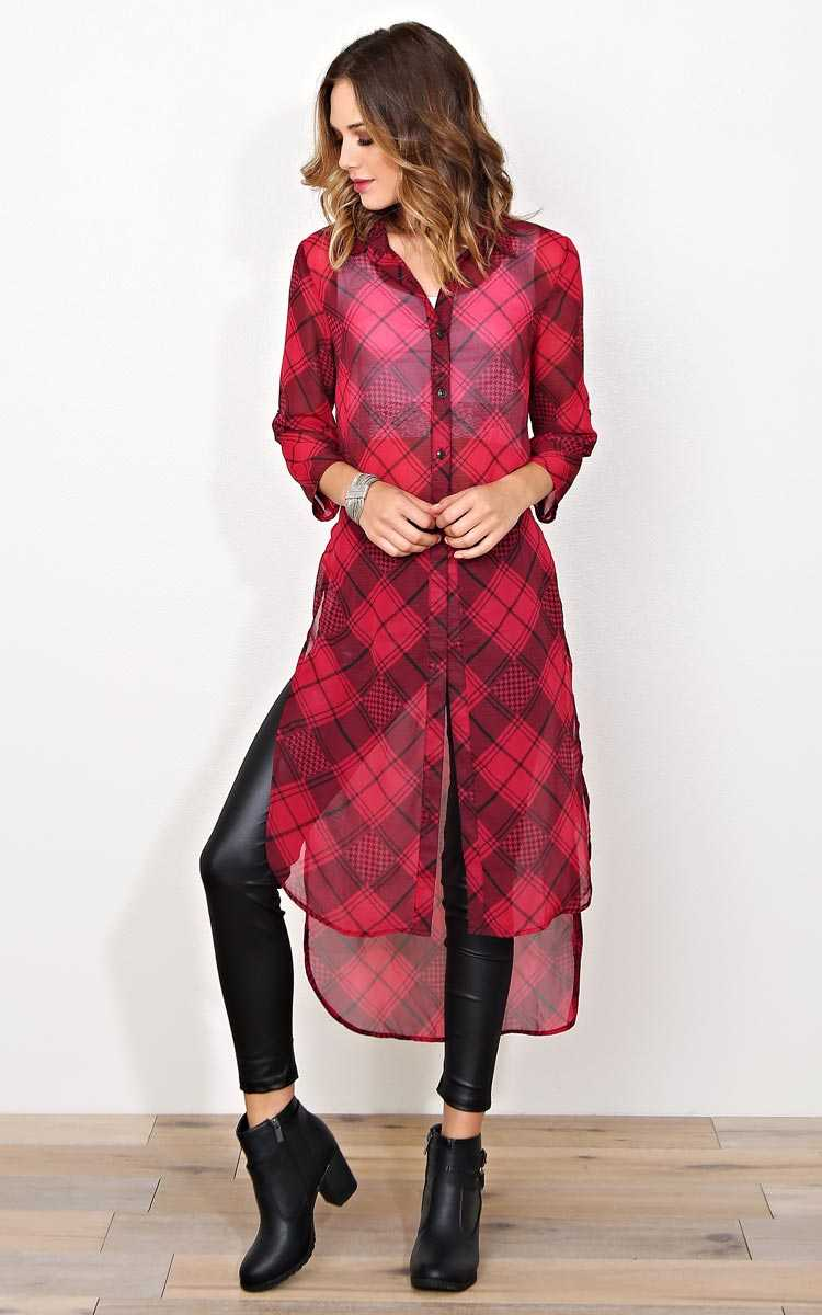 Own It Tartan Longline Tunic - MED - Wine Combo in Size Medium by Styles For Less