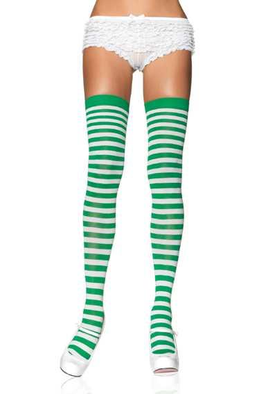 White Kelly Green Nylon Striped Stockings