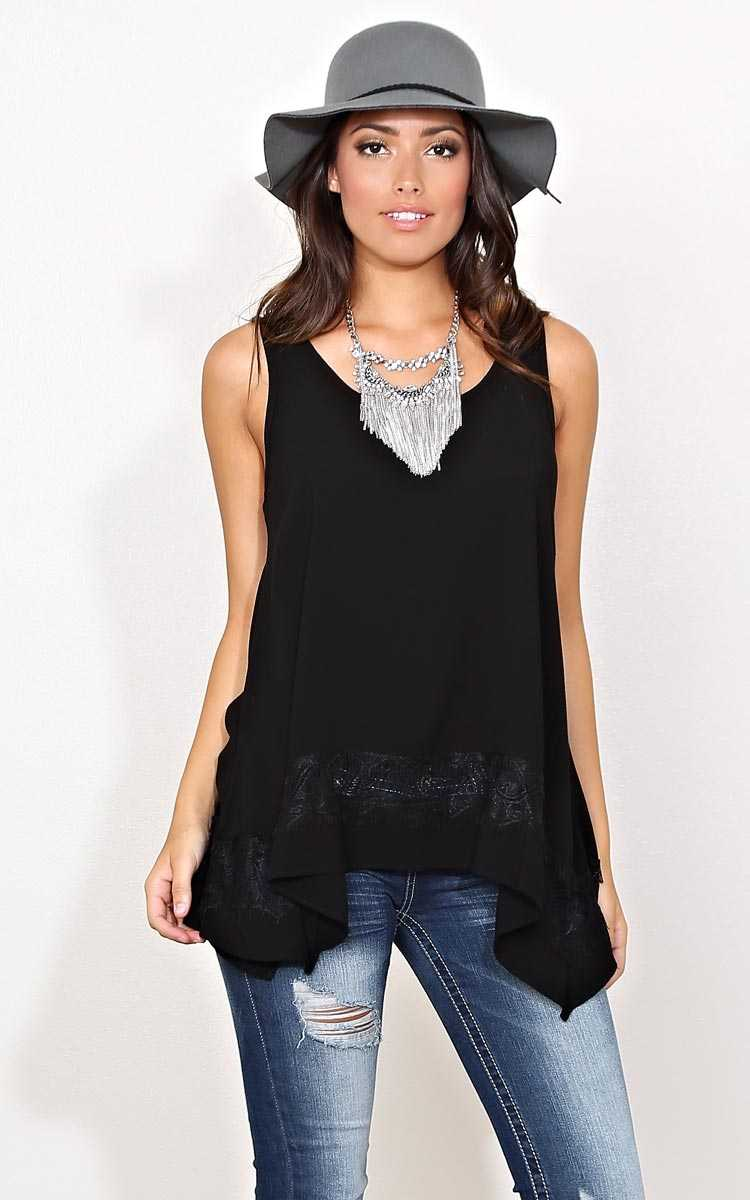 Leila Lace Inset Woven Tank - SML - Black in Size Small by Styles For Less