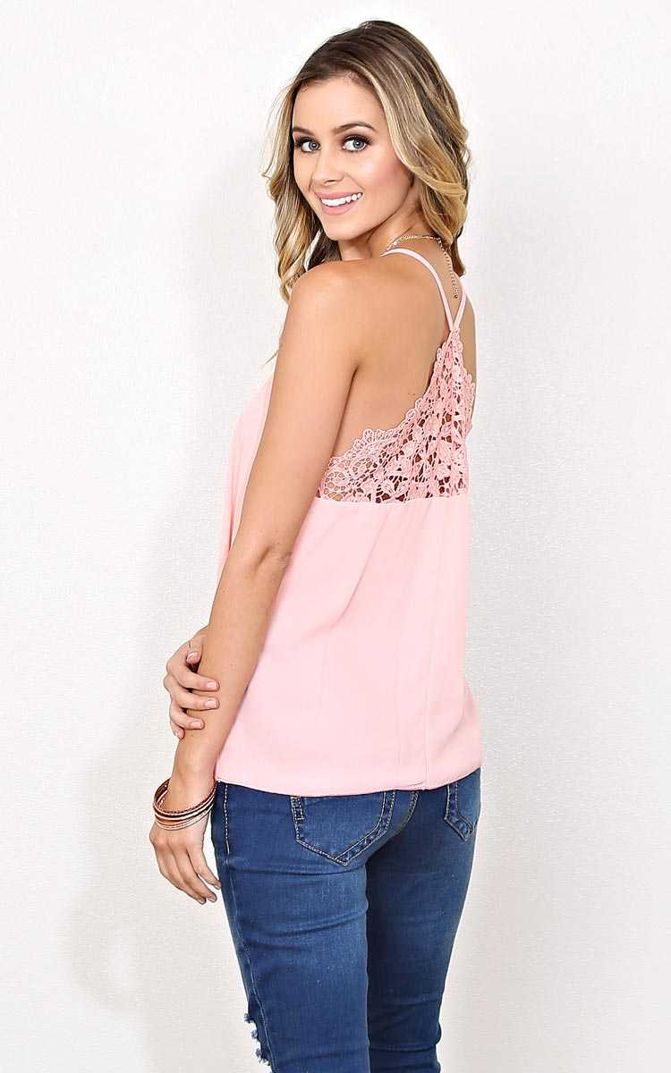 First Try Lace Inset Woven Tank - Peach in Size by Styles For Less