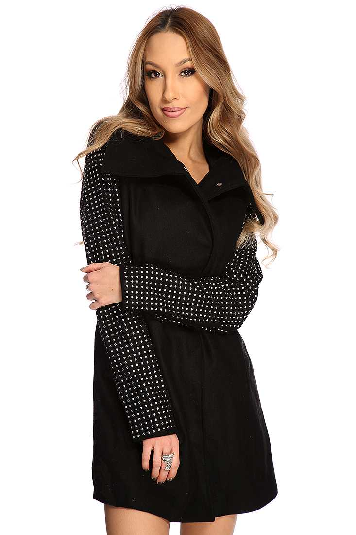 Black Studded Long Sleeves Coat