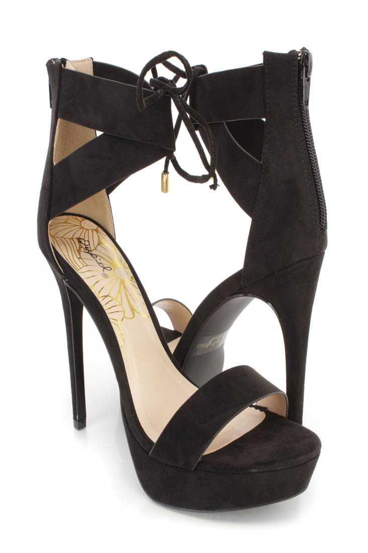 Black Strappy Ankle Platform High Heels Faux Suede