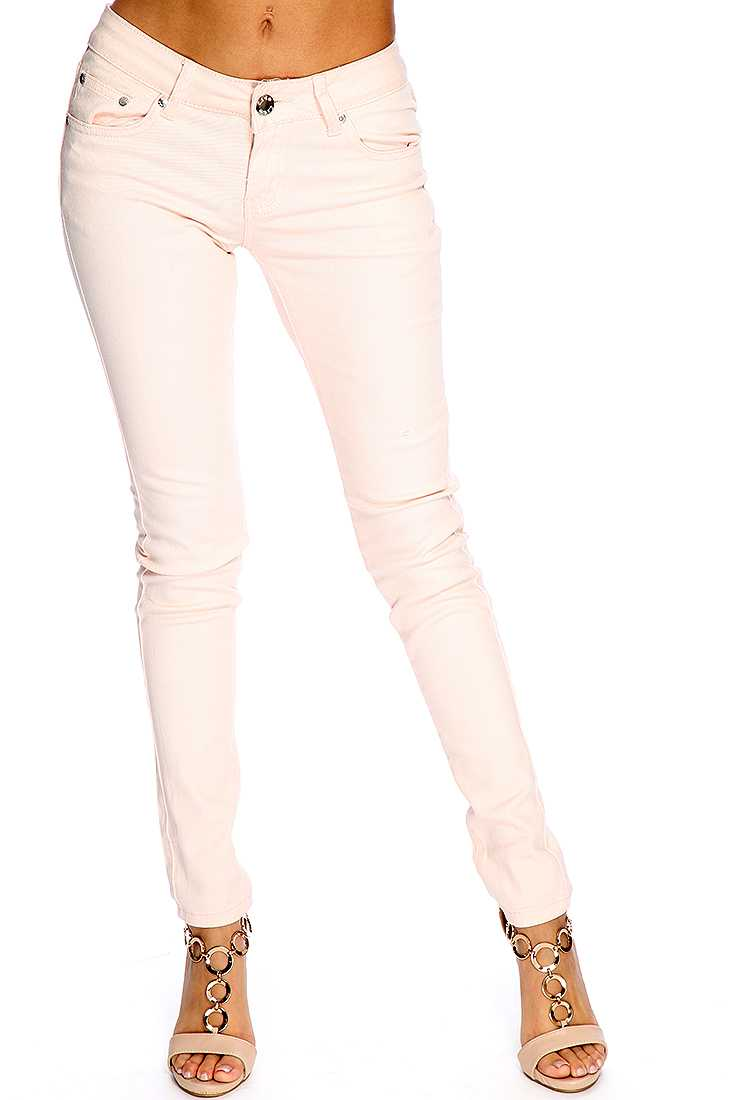 Peach Zip Fly Button Closure Skinny Jeans