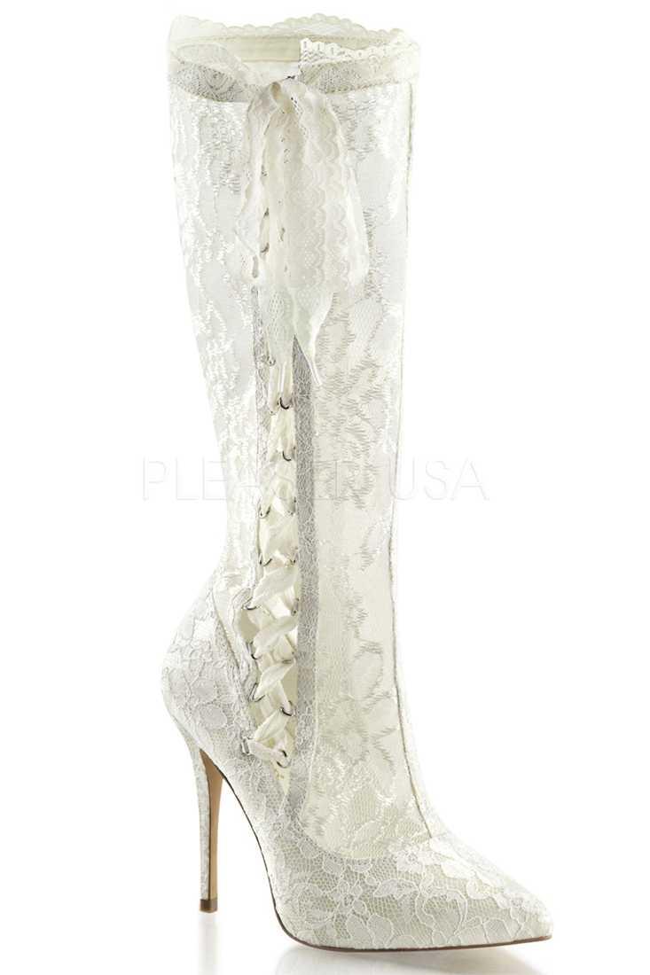 Ivory Satin Ribbon Lace Boots Mesh Lace